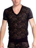 L'Homme Delos: V-Neck T-Shirt, schwarz