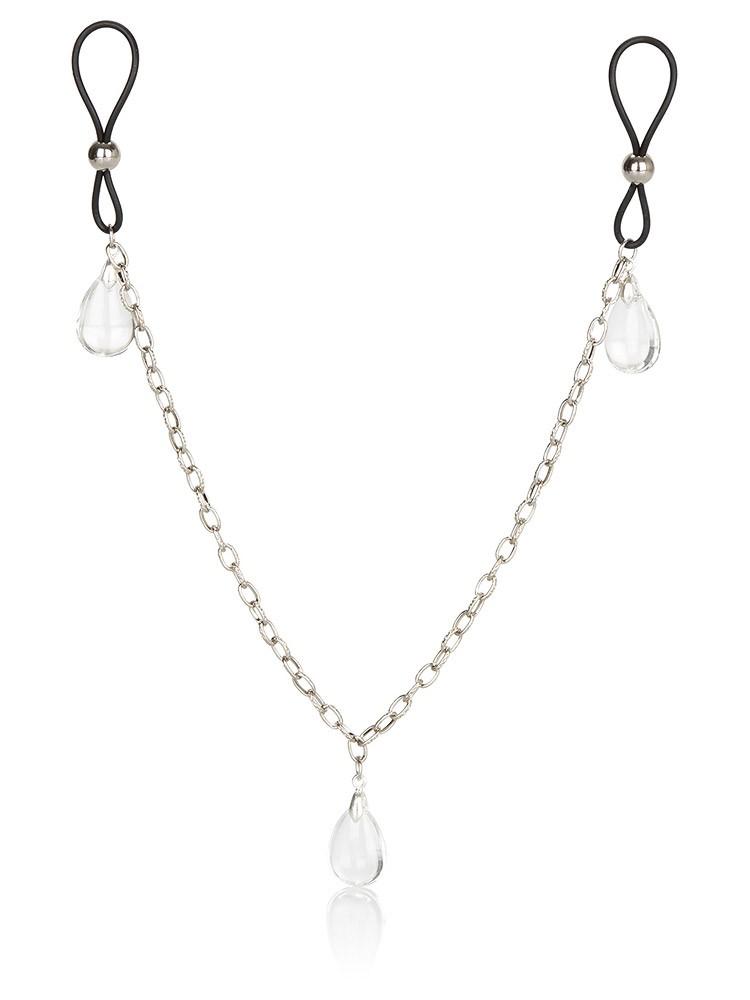Nipple Chain Jewelry: Nippelschlaufen mit Kette, schwarz/transparent