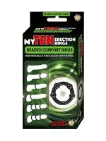 My Ten Erection Rings Beaded: Penisringe-Set, schwarz