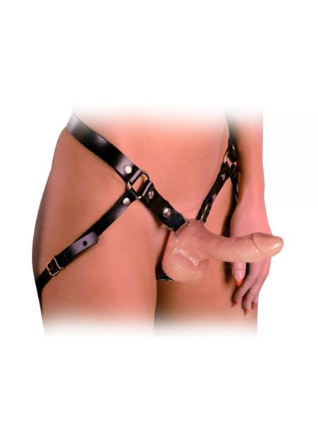 Réel Leder-Strap-On mit Dildo (17cm), schwarz/haut