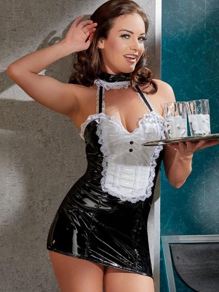 Lack-Dienstmädchen-Kostüm, schwarz/weiß