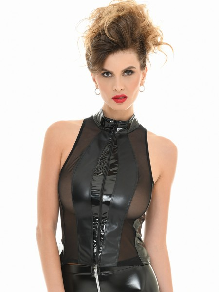Patrice Catanzaro Audrey: Lack-Wetlook-Top, schwarz