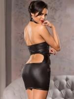 Allure: Wetlook-Netz-Minikleid, schwarz