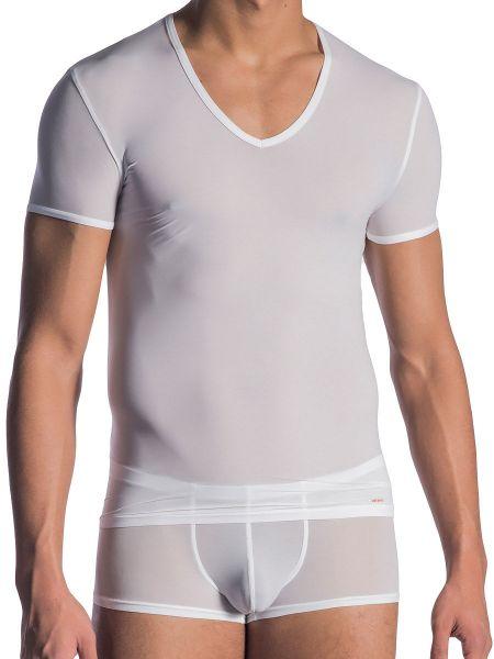 Olaf Benz RED0965: Phantom V-Neck-Shirt, weiß