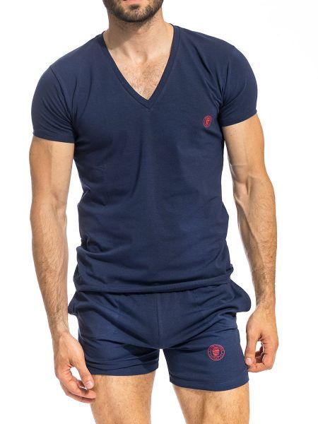 L'Homme Hypnos: T-Shirt V-Neck, marine