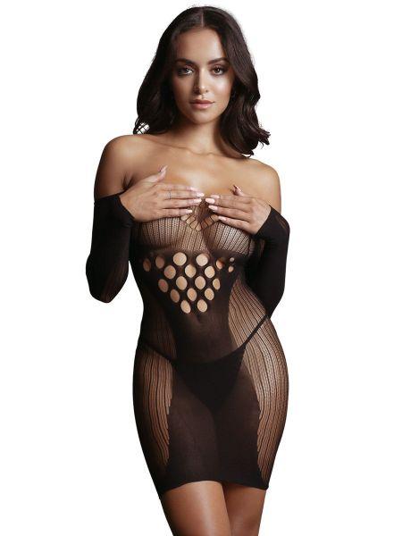 Le Désir Long-Sleeved Net: Netz-Minikleid, schwarz