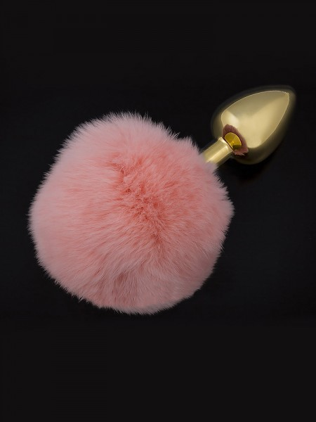 Dolce Piccante Jewellery Small Tail: Edelstahl-Analplug, gold/pink