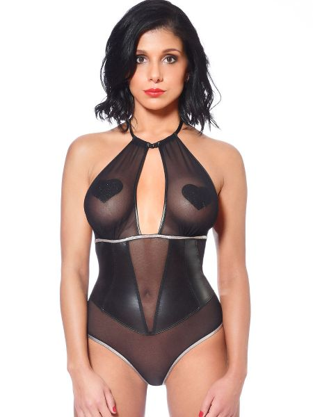 Patrice Catanzaro Amanda: Netz-Wetlook-Body, schwarz