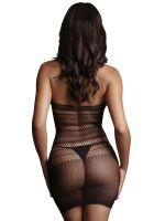 Le Désir High Lace Neck: Netz-Minikleid, schwarz