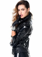 Patrice Catanzaro Acacia: Lack-Bikerjacke, schwarz