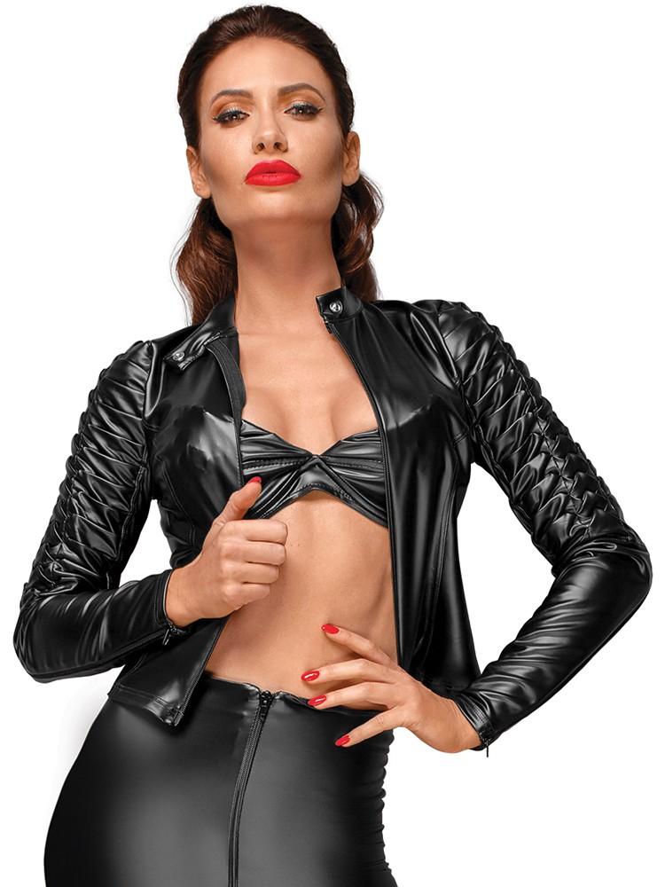Noir Handmade: Wetlook-Jacke mit Zierfalten F175, schwarz