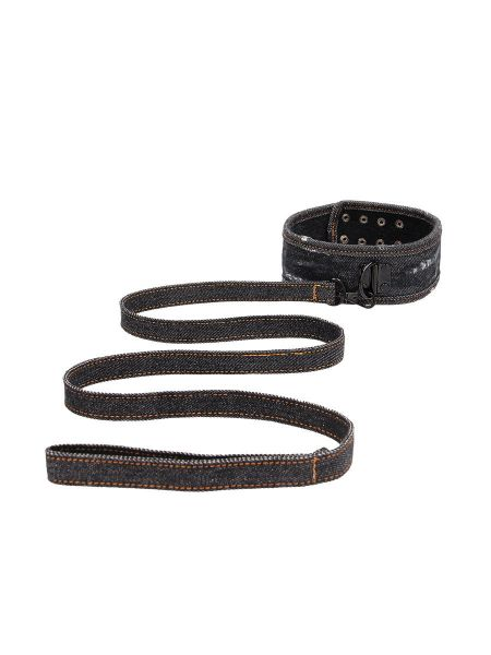 Ouch! Denim Collar with Leash: Halsfessel mit Leine, jeans-schwarz