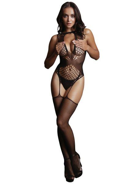 Le Désir Contrast Suspender: Ouvert-Netzcatsuit, schwarz