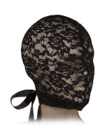 Scandal Corset Lace Hood: Spitzen-Kopfmaske, schwarz