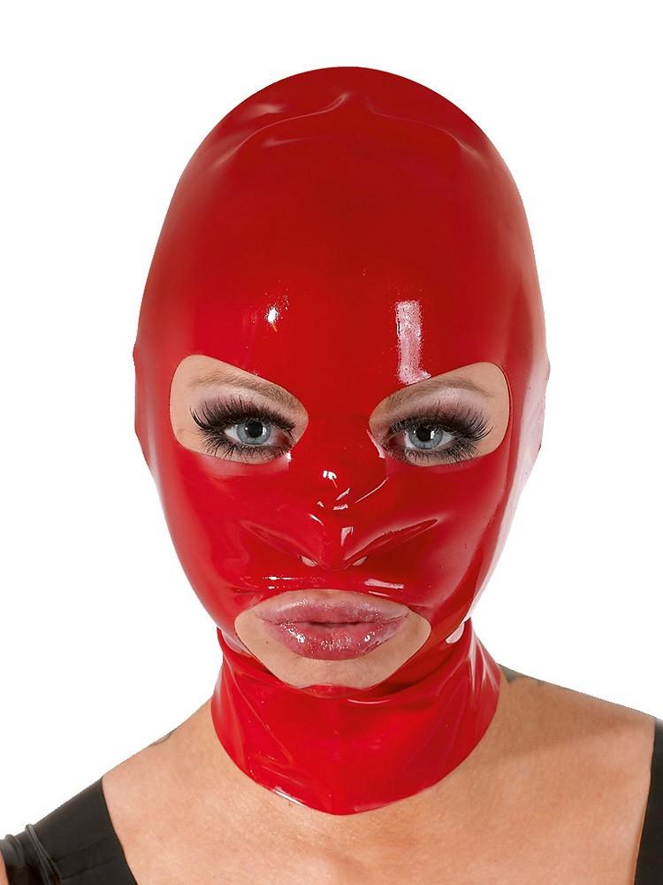 Latex-Kopfmaske, rot