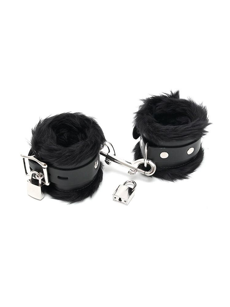 Rimba Leder-Handfesseln mit Plüsch und abschließbar, schwarz