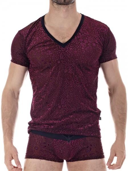 L'Homme Manta: V-Neck-Shirt, bordeaux