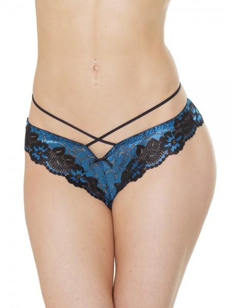 Coquette: Slip, schwarz/blau
