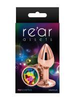 Rear Assets Round S: Aluminium-Analplug, roségold/bunt