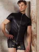 NEK: Zip-Shirt, schwarz