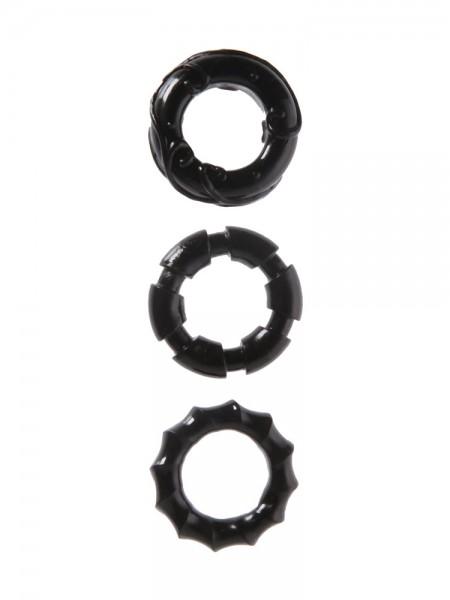 Malesation Stretchy Cock Rings: Penisringe-Set, schwarz