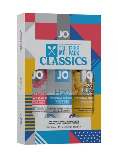 System JO Tri Me Classic: 3er Set Gleit-/Massagegel (3x 30ml)