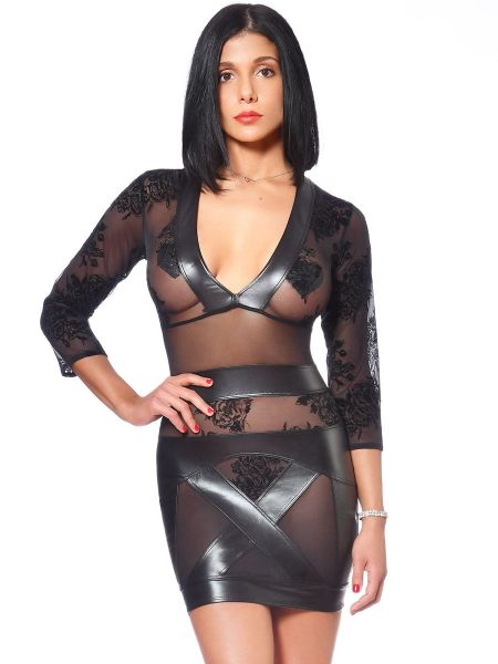 Patrice Catanzaro Evelina: Wetlook-Netz-Minikleid, schwarz