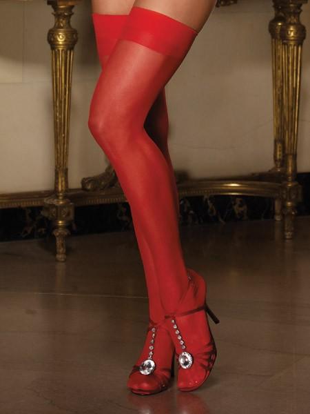 Dreamgirl Halterlose Nahtstrümpfe, rot