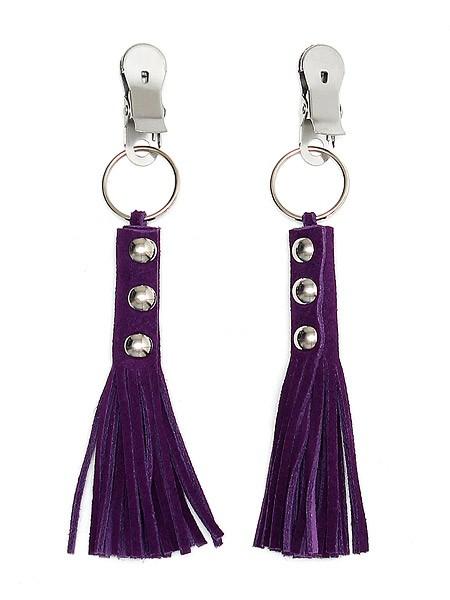 Nippelklemmen mit Velourlederfransen, violett