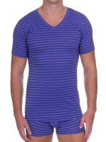 Bruno Banani Globetrotter: V-Neck-Shirt, lila/weiß