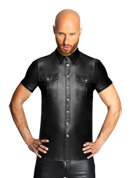 Noir Handmade: Wetlook-Hemd, schwarz