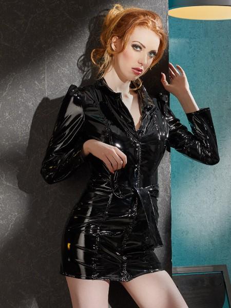Lack-Mantelkleid, schwarz