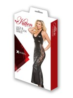 Kitten: Wetlook-Spitzen-Abendkleid, schwarz