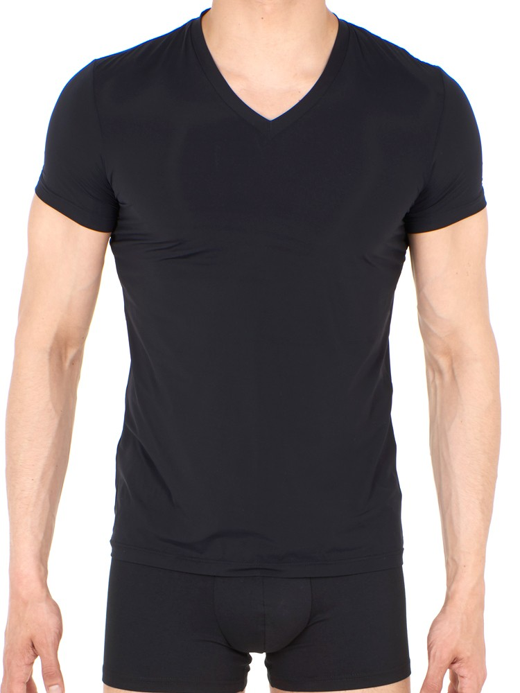 HOM Plumes: V-Neck-Shirt, schwarz