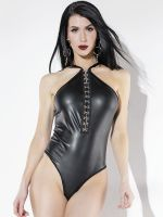 Coquette: Ouvert-Wetlook-Body, schwarz
