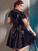 Lack-Minikleid, schwarz
