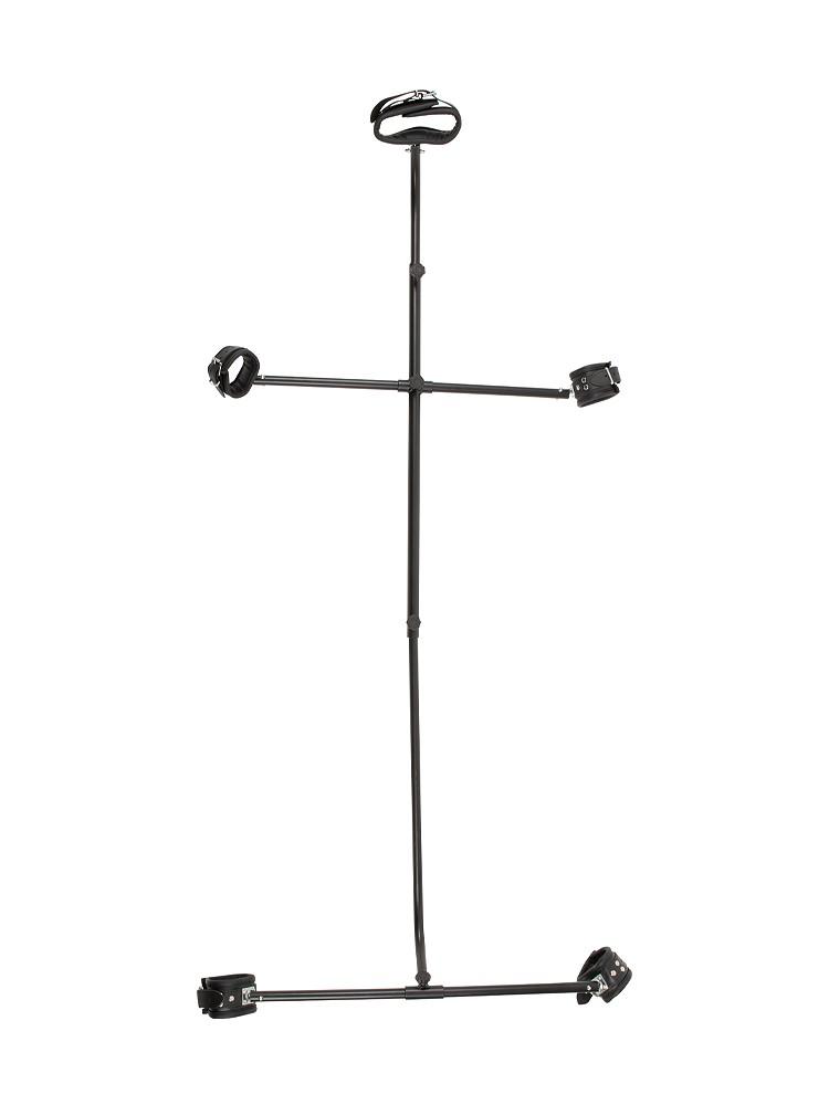 Pranger mit Lederfesseln, schwarz