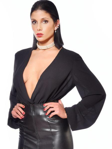 Patrice Catanzaro Violeta: Chiffon-Bluse, schwarz