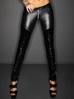 Noir Handmade: Wetlook-Lack-Hose mit Zip, schwarz