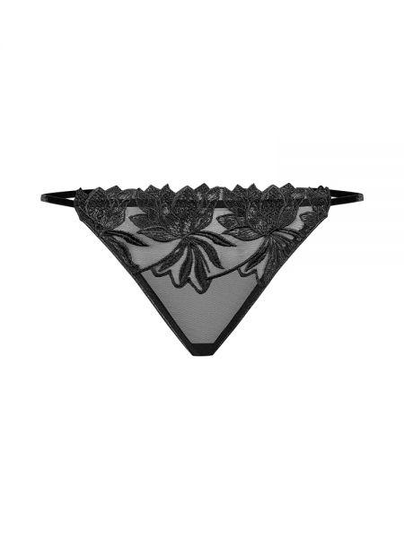 Petite Noir: Netz-Slip mit Stickerei 1118, schwarz