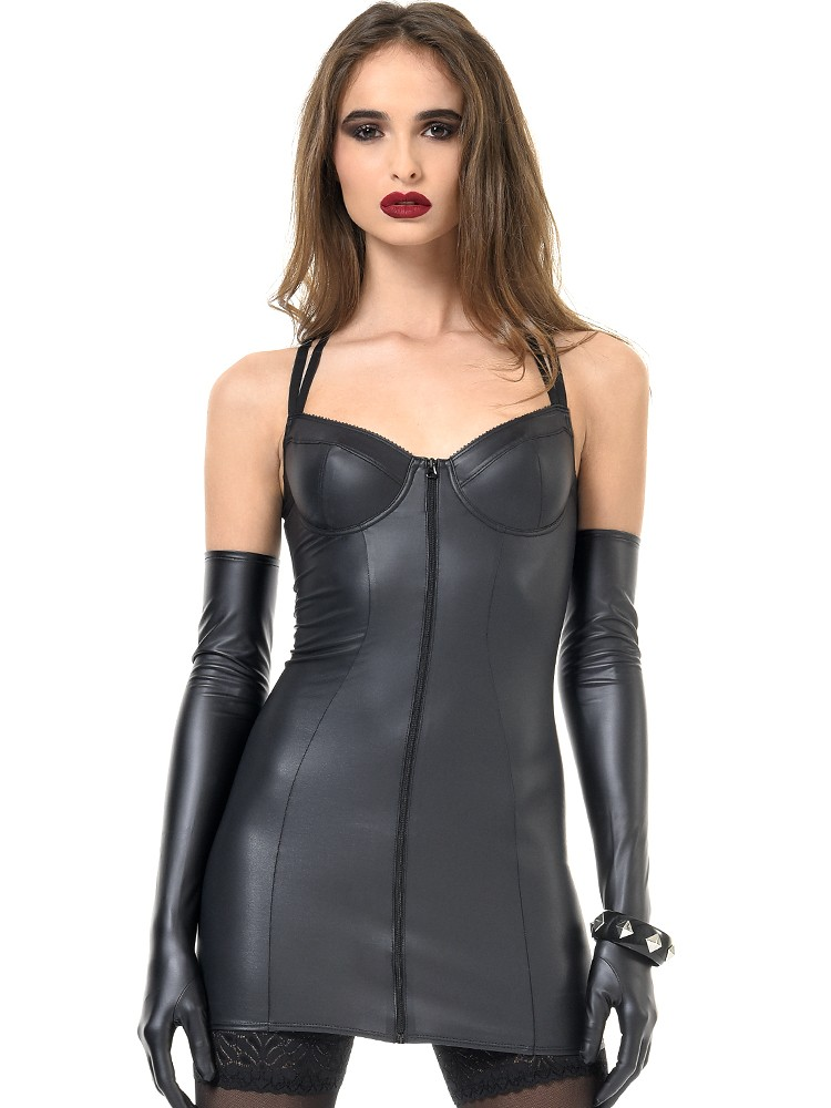 Patrice Catanzaro Rosa: Wetlook-Minikleid, schwarz