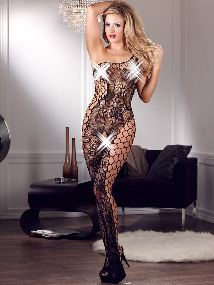 Mandy Mystery Deluxe Ouvert-Catsuit, schwarz