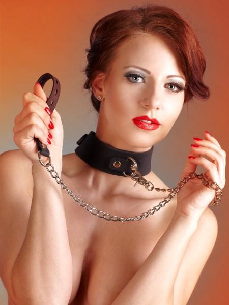 Bad Kitty Silikon-Halsfessel mit Führleine, schwarz