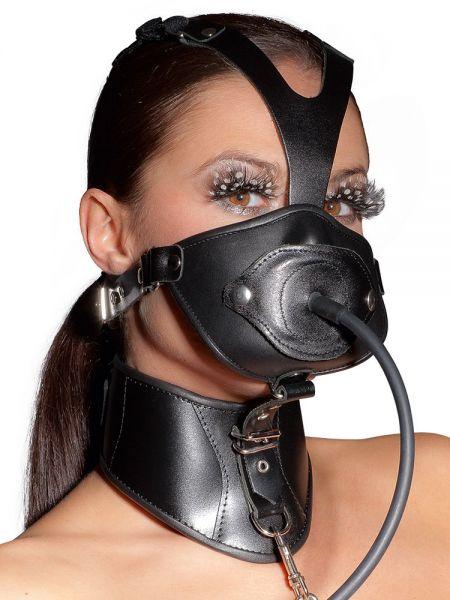 Leder-Kopfmaske mit Knebel + Halsband, schwarz