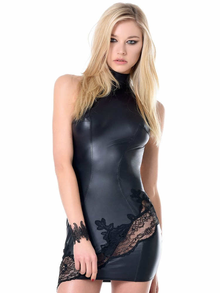 Patrice Catanzaro Gloria: Wetlook-Spitzen-Minikleid, schwarz