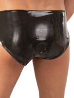 Latex-Brief mit Analplug, schwarz