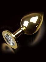 Dolce Piccante Jewellery Large: Edelstahl-Analplug, gold/klar