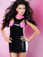 Lolitta Wetlook-Minikleid: Brilliance, schwarz/pink