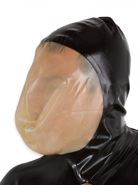 Latex-Vakuummaske, schwarz/transparent