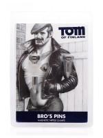 Tom of Finland Bro's Pins: Magnet-Nippelklemmen, schwarz